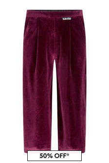 Girls Red Velour Trousers