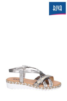 Riva Silver Ginny Elasticated Slingback Sandals