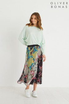Oliver Bonas Black Chevron Patched Floral Pleated Midi Skirt