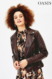 Oasis Brown Faux Leather Biker Jacket