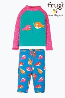 Frugi Oeko Tex Puffer Fish 2 Piece Rash Vest And Shorts Set