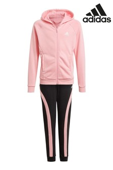 adidas Pink/Black Cotton Tracksuit