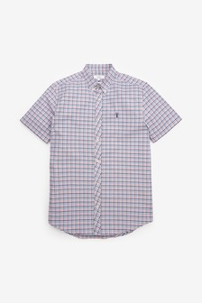Gingham Short Sleeve Regular Fit Stretch Oxford Shirt