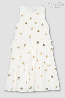 Mintie by Mint Velvet Ivory Sequin Star Tiered Dress