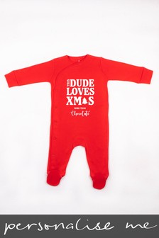 Personalised This Dude Loves Christmas Sleepsuit