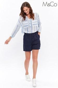 M&Co Blue Herringbone Shorts