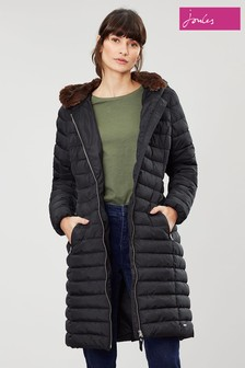 Joules Maristow Black Snuggle Hood Padded Coat