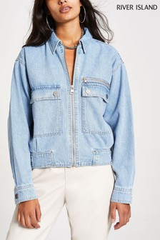 River Island Denim Light Bomber Jacket