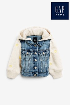 Gap Blue Embroidered Fleece Denim Jacket