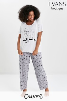 Evans Curve Cream And Grey Koala Print Pyjama Set