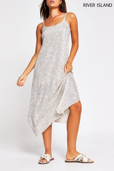 River Island Silver Sequin Cami Dress