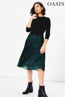 Oasis Green Talia Knitted Dress