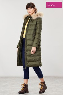 Joules Touchline Padded Coat With Removable Faux Fur Trim Hood