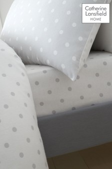 Dotty Brushed Cotton Fitted Sheet by Catherine Lansfield