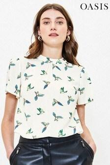 Oasis Natural Bird Print Button Top