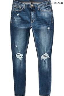 River Island Blue Medium Phoenix Spray On Ripped Jeans