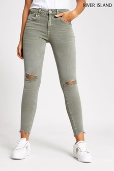 River Island Khaki Shrek Light Amelie Mid Rise Ripped Jeans