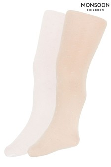 Monsoon Natural Baby Bridal Spot Tights Two Pack