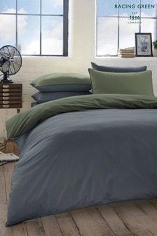 RacingWendbares Set mit Bett- und Kissenbezug aus gekämmter Baumwolle, Grün