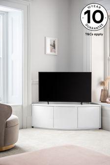 Mode White Gloss Curved Corner TV Stand