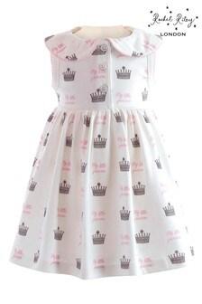 Rachel Riley White Princess Crown Print Dress And Bloomers