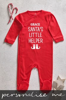 Personalised Santas Little Helper Sleepsuit