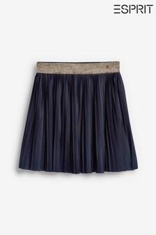 Esprit Navy Glitter Waistband Pleated Skirt