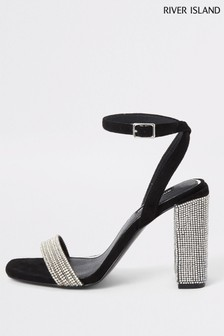 River Island Black Twinkle Block Heel Sandals