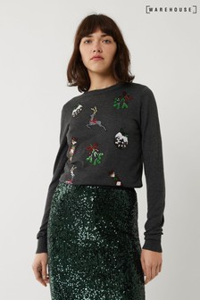 Warehouse Grey Sequin Christmas Jumper