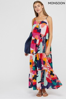 Monsoon Multi Iona Organic Cotton Maxi Dress