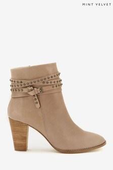 Mint Velvet Grey Jade Nubuck Studded Boots