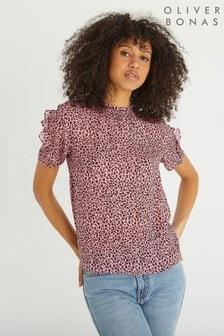 Oliver Bonas Pink Leopard Print High Neck Blouse