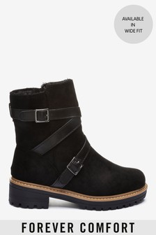 Faux Fur Lined Forever Comfort® Buckle Strap Boots