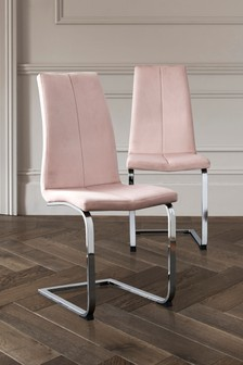 Set Of 2 Opus Cantilever Dining Chairs With Chrome Legs