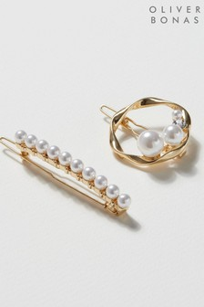 Oliver Bonas White Delta Faux Pearl Hair Clips Two Pack