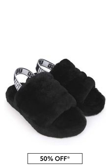 UGG Girls Black Fluff Yeah Sandals