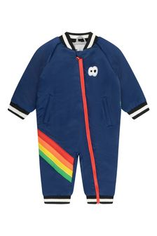 Baby Boys Navy Satin Rainbow Snowsuit
