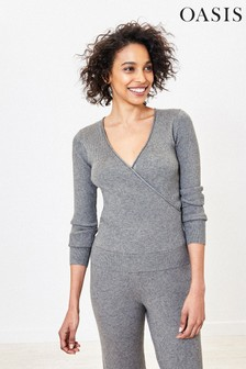 Oasis Grey Rib Wrap Jumper
