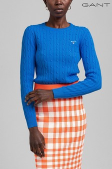 GANT Blue Stretch Cotton Cable C-Neck Jumper