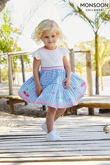 Monsoon Blue Baby Molly 2-In-1 Gingham Dress