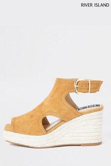 River Island Brown Square Toe Cut Out Wedges