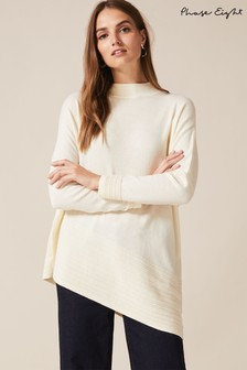 Phase Eight Cream Rhea Ripple Asymmetric Jumper