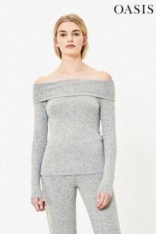 Oasis Grey Cosy Bardot Jumper