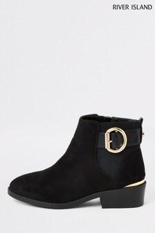 River Island Wide Black Fit Saga Update Buckle Boots