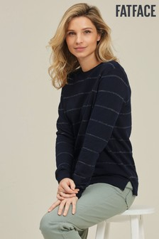 FatFace Blue Stripe Crew Sweatshirt