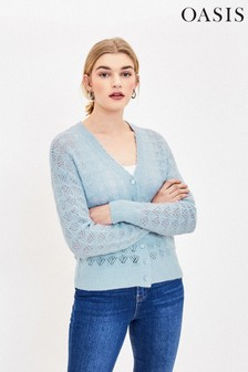 Oasis Blue Pointelle Fluffy Cardigan