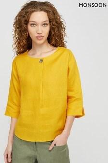 Monsoon Yellow Scarlet 100% Linen T-Shirt