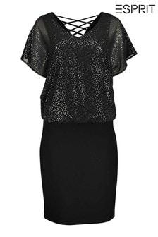 Esprit Womens Black Foiled Print Chiffon Dress