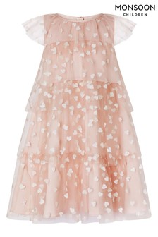 Monsoon Pink Heart Ruffle Dress