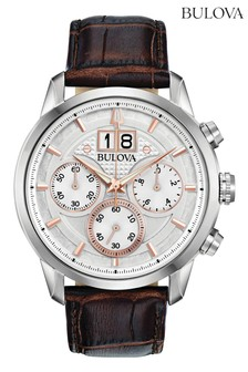 Bulova Sutton Chronograph, Date, Leather Strap Watch